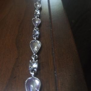 Silver teardrop rhinestone bracelet